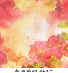 Watercolor illustration of floral background on a grunge paper with texture