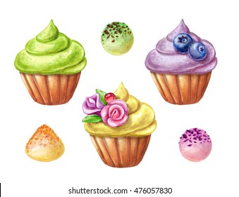 watercolor illustration, fruit cupcake set, isolated on white background