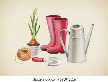Watercolor illustration of garden tools
