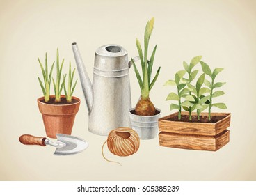 Watercolor illustration of garden tools