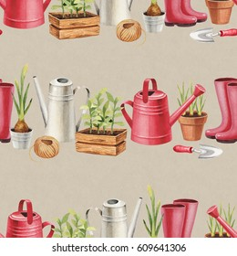 Watercolor illustration of garden tools. Seamless pattern
