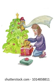Watercolor illustration of a girl opening gift box with puppy dog. Perfect for Christmas greeting cards