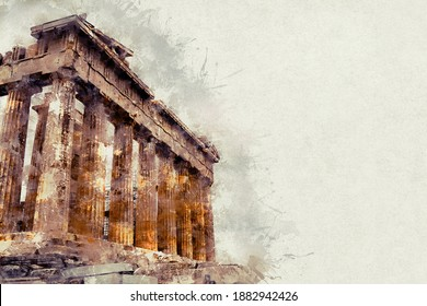 Watercolor illustration of a gorgeous landscape on old paper. Parthenon, ruins of an ancient monument in the Acropolis. Athens, Greece. - Shutterstock ID 1882942426