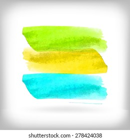 Watercolor illustration of green, yellow and blue banner brush strokes on white background.