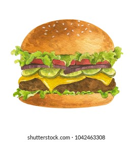 Watercolor illustration of Hamburger American fast food, The food consists of roast beef, tomatoes, cucumbers and onions, Isolated on white background.