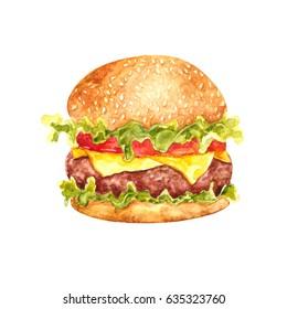 Watercolor illustration of hamburger. Tasty food. Fast food