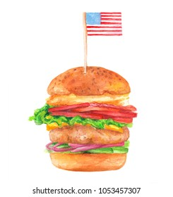 Watercolor Illustration of Hand-drawn Tasty Burger with American Flag isolated on white