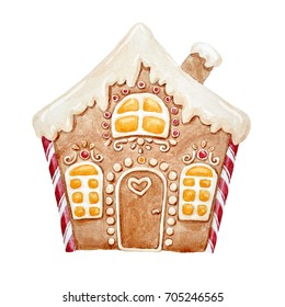 watercolor illustration holiday gingerbread house, candy and chocolates, Christmas card. gingerbread
