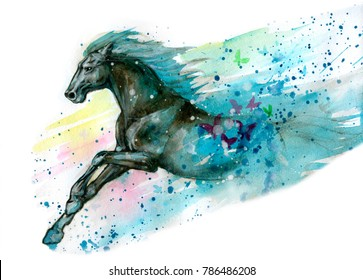 Watercolor illustration of horse. Hand drawn