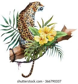 watercolor illustration of a leopard sits in a tree, a jungle wine, palm leaves, flowers, eland, tropics