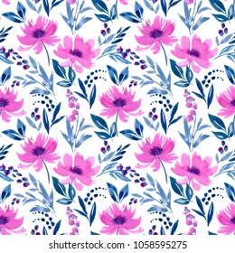 "Watercolor illustration ""Lilac flowers"". Seamless pattern. Excellent pattern for printing on fabric, cloth, wallpaper and other surfaces."
