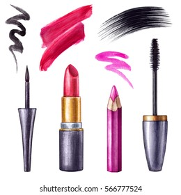 watercolor illustration, makeup accessories, cosmetics clip art, brush strokes, pencil, ink, lipstick, mascara, isolated on white background