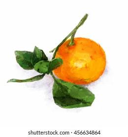 Watercolor illustration of mandarin Isolated mandarin with leaves. Watercolor style illustration.