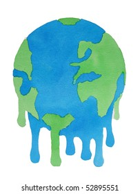 watercolor illustration of melting planet earth