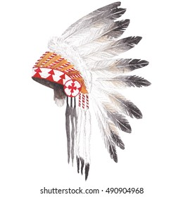 Watercolor illustration native american war bonnet with feathers.