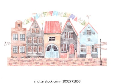 Watercolor illustration. Old town city. Happy holidays. Cityscape - houses, buildings, pointer. Europe. Perfect for invitations, greeting cards, posters, prints, packing etc