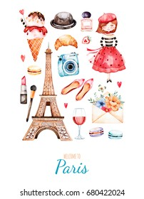 Watercolor illustration. Watercolor illustration Paris style. Handpainted postcard with cosmetics,Tour Eiffel, young girl,camera,perrfum,sweet,shoes etc.Perfect for you project,invitation,print
