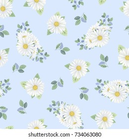 watercolor illustration of pattern with chamomile