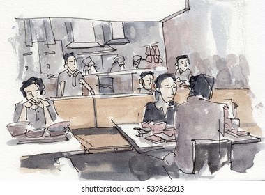 Watercolor illustration of people in restaurant
