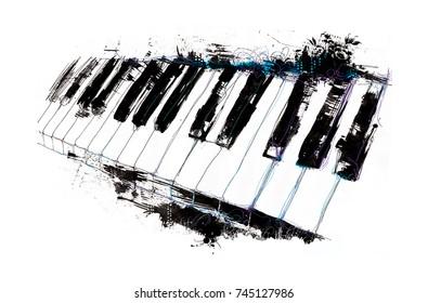 watercolor illustration of a piano keyboard