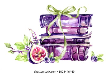 Watercolor illustration. A pile of old books with a bow, figs, leaves and berries. Antique objects. Spring collection in violet shades. ClipArt, DIY, scrapbooking elements. Holiday Decoration.