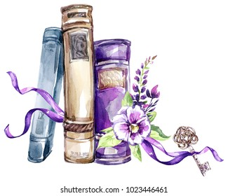 Watercolor illustration. A pile of old books with a bow, pansies, leaves and key. Antique objects. Spring collection in violet shades. ClipArt, DIY, scrapbooking elements. Holiday Decoration.
