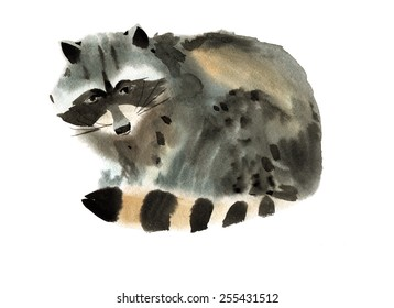 Watercolor illustration of a raccoon