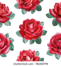 Watercolor illustration of roses. Seamless pattern