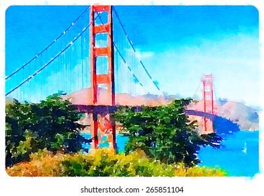 watercolor illustration san francisco golden gate bridge