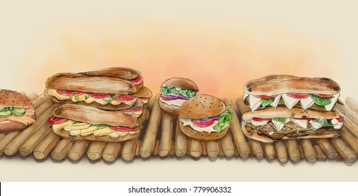A watercolor illustration of sandwiches with cheese, eggplant, tomatoes, and lettuce