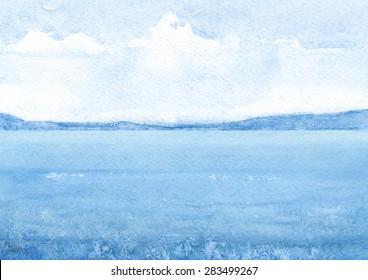 Watercolor illustration of a sea