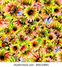 Watercolor illustration. Seamless pattern. Bright flowers - 3