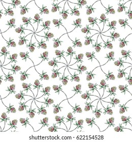 Watercolor illustration of seamless pattern with clover. Isolated object.