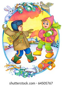 """Watercolor illustration of a series of """"Children and the seasons."""" Winter"""