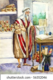 """Watercolor illustration of a series """"Life and everyday objects of ancient Palestine"""". Scribe"""