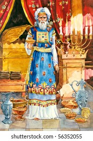 "Watercolor illustration of a series ""Life and everyday objects of ancient Palestine"". High priest"