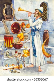 """Watercolor illustration of a series """"Life and everyday objects of ancient Palestine"""". Leviticus"""