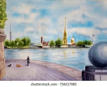 Watercolor illustration of the spit of Vasilyevsky island in St. Petersburg. Girl and dog Welsh Corgi.