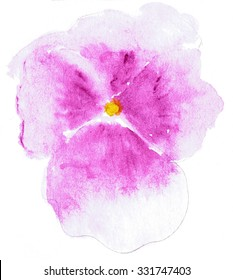 Watercolor illustration of stylized Pansy flower. Color illustration of flowers in watercolor paintings