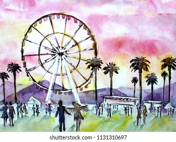 watercolor illustration of a sunset pink sky of the landscape with silhouettes of people, palm trees and a Ferris wheel at the music festival Coachella