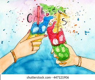 """Watercolor illustration of two hands friends with two coctails. Cheering of two glasses with fresh and icy drinks. Picture with calligraphy text """"Cheers""""."""
