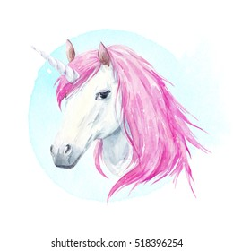 watercolor illustration of a unicorn with pink mane, watercolor background, a fabulous animal print