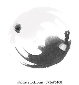 WATERCOLOR ILLUSTRATION - Yin  and Yang stylized logo