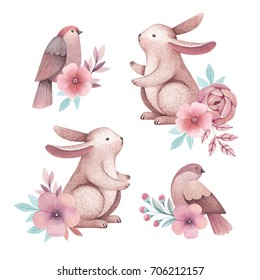 Watercolor illustrations of birds and rabbits