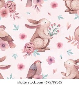 Watercolor illustrations of birds and rabbits. Seamless pattern