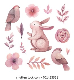 Watercolor illustrations of a bunny, birds and flowers