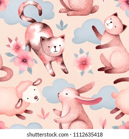 Watercolor illustrations of cats, sheep, bunny and flowers. Seamless pattern