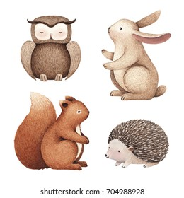 Watercolor illustrations of cute animals