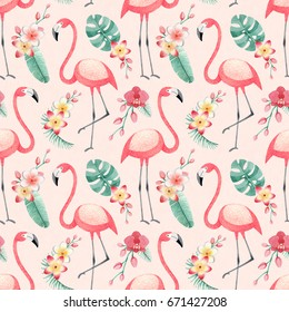 Watercolor illustrations of flamingos, tropical flowers and leaves. Seamless tropical pattern