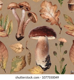 Watercolor illustrations of mushrooms, leaves and flowers. Seamless pattern